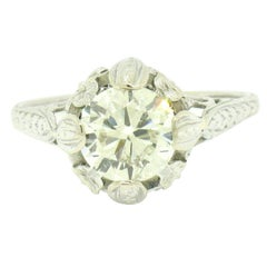 Antique Art Deco 14k Gold 1.75 Diamond Solitaire Etched Filigree Engagement Ring