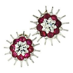 Antique Art Deco 14k Gold 3.74ct Ruby Old European Diamond Burst Stud Earrings