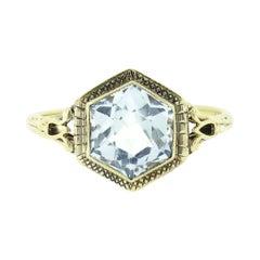 Antique Art Deco 14k Gold Hexagon Bezel Aquamarine Solitaire Open Filigree Ring