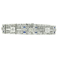 Antique Art Deco 14k Gold Platinum Diamond Sapphire Wide Filigree Bracelet Mint