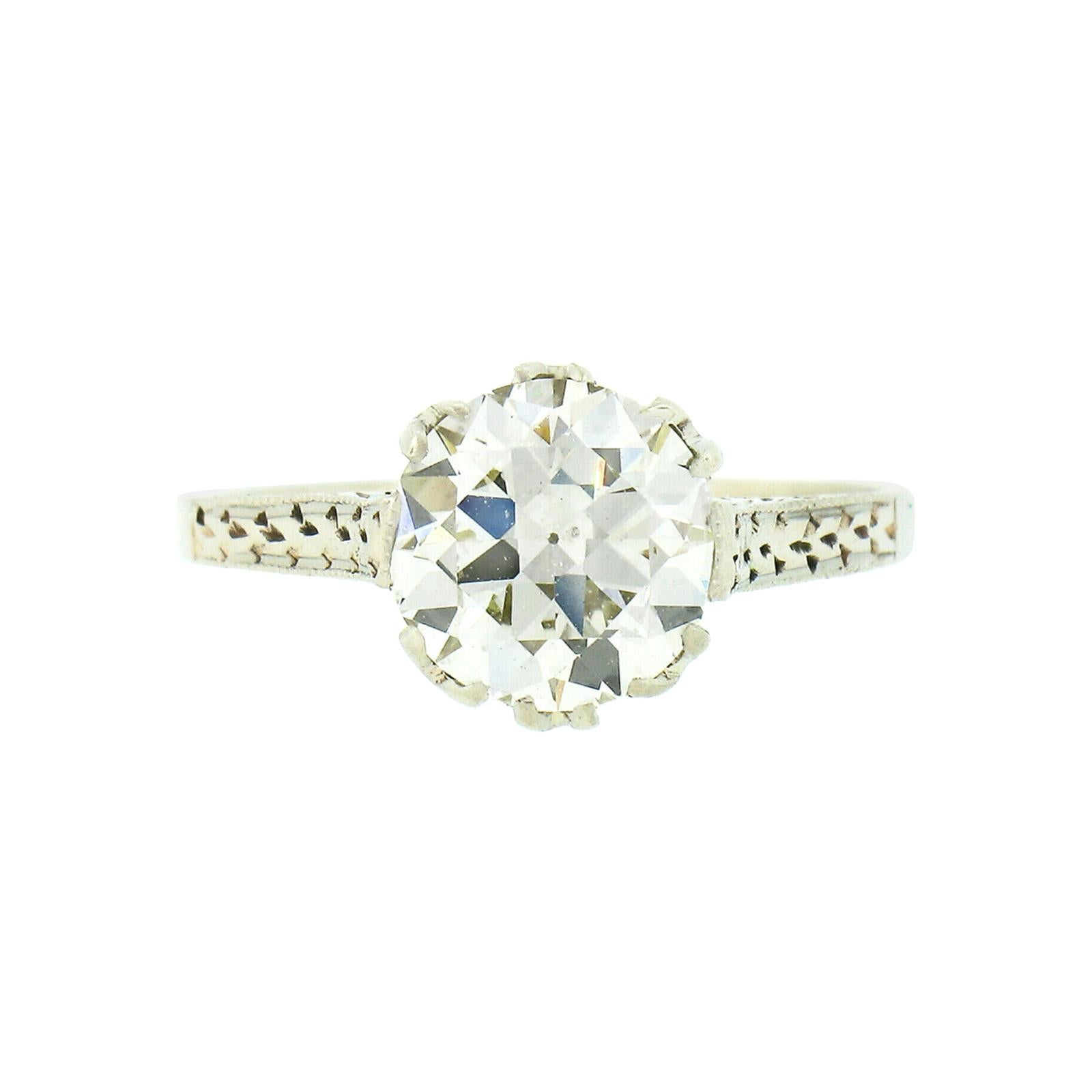 Antique Art Deco 14k White Gold 1.70ct GIA Old Diamond Engraved Engagement Ring