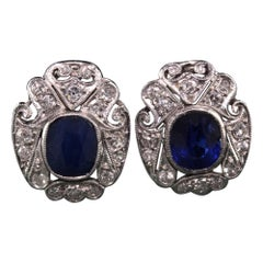 Antique Art Deco 14K White Gold Diamond and Sapphire Earrings
