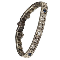 Antique Art Deco 14 Karat White Gold Diamond and Sapphire Filigree Bracelet