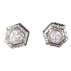 Antique Art Deco 14 Karat White Gold Diamond Stud Earrings