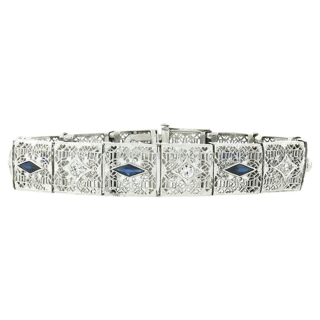 Antique Art Deco 14k White Gold European Diamond Sapphire Wide Filigree Bracelet