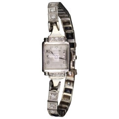 Antique Art Deco 14 Karat White Gold Perregaux Diamond Watch