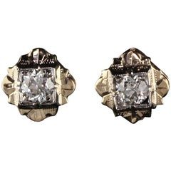 Antique Art Deco 14 Karat Yellow Gold Diamond Earrings