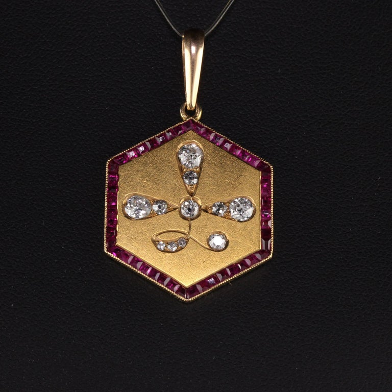 Old Mine Cut Antique Art Deco 14 Karat Yellow Gold Old Euro Cut Diamond and Ruby Pendant For Sale
