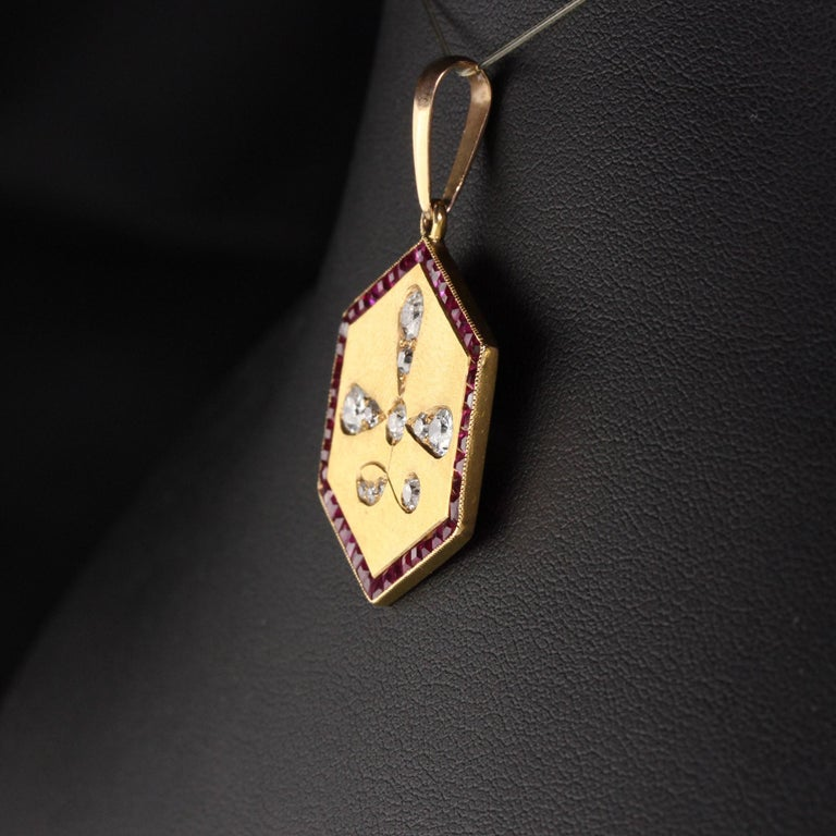 Antique Art Deco 14 Karat Yellow Gold Old Euro Cut Diamond and Ruby Pendant In Good Condition For Sale In Great Neck, NY
