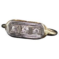 Antique Art Deco 14K Yellow Gold Old European Cut Three Stone Diamond Ring