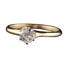 Antique Art Deco 14k Yellow Gold Old Mine Diamond Engagement Ring