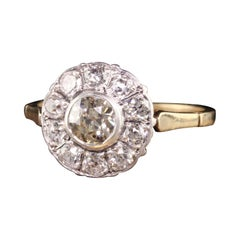Antique Art Deco 14K Yellow Gold Old Mine Diamond Halo Engagement Ring