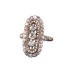 Antique Art Deco 14k Yellow Gold Old Mine Diamond Shield Ring