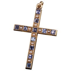 Antique Art Deco 14K Yellow Gold Yogo Gulch Sapphire and Seed Pearl Pendant