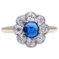 Antique Art Deco, 18 Carat Gold, Royal Blue Sapphire and Diamond Engagement Ring