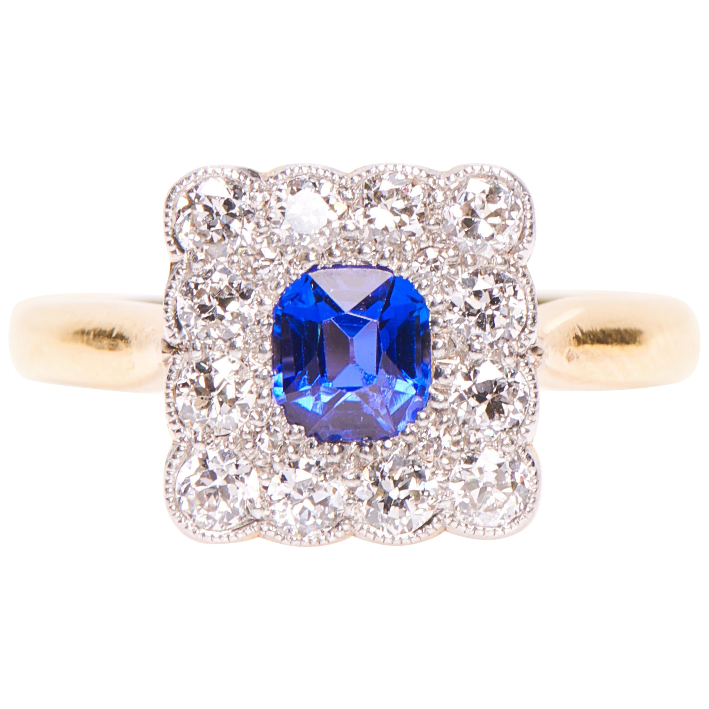 Antique, Art Deco, 18 Carat Gold, Sapphire and Diamond Engagement Ring