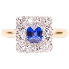 Antique, Art Deco, 18 Carat Gold, Sapphire and Diamond Engagement Ring