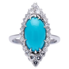 Antique, Art Deco, 18 Carat Gold, Turquoise and Diamond Marquise Cluster Ring