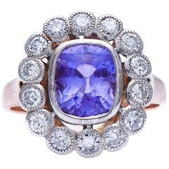 Antique, Art Deco, 18 Carat Rose Gold, French, Natural 'Color-Change' Sapphire