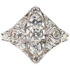 Antique Art Deco, 18 Carat White Gold, Diamond Engagement Ring