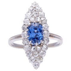 Antique, Art Deco, 18 Carat White Gold, French, Sapphire and Diamond Ring