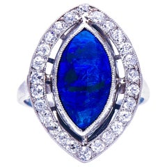 Antique, Art Deco, 18 Carat White Gold, Natural Black Opal and Diamond Ring