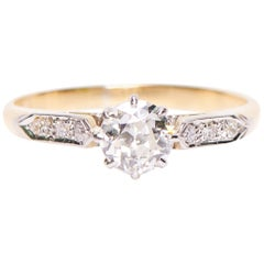 Antique, Art Deco, 18 Carat Yellow Gold and Platinum, Diamond Engagement Ring