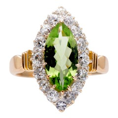 Antique, Art Deco 18 Carat Yellow Gold Peridot and Diamond Marquise Cluster Ring