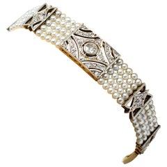 Antique Art Deco 18 Karat and Platinum Diamond and Pearl Bracelet