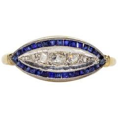 Antique Art Deco 18 Karat Gold and Platinum Diamonds and Sapphires Ring