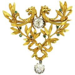 Antique Art Deco 18 Karat Gold Brooch or Pendant with Diamonds and Emeralds