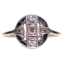 Antique Art Deco 18 Karat Gold Diamond and Sapphire Ring
