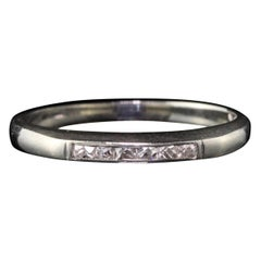 Antique Art Deco 18 Karat White Gold French Cut Diamond Half Eternity Band