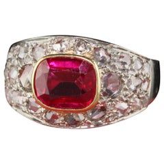 Antique Art Deco 18 Karat White Gold Rose Cut Diamond and Ruby Ring
