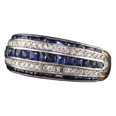 Antique Art Deco 18 Karat Yellow Gold Platinum French Cut Sapphire Diamond Band