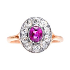 Antique, Art Deco, 18ct Gold and Platinum, Ruby and Diamond Ring
