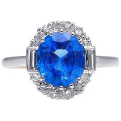 Antique, Art Deco, 18 Carat Gold, Burmese Sapphire and Diamond Cluster Ring