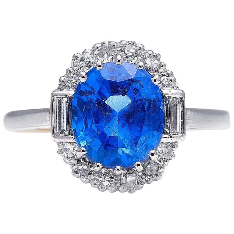Antique, Art Deco, 18 Carat Gold, Burmese Sapphire and Diamond Cluster Ring For Sale