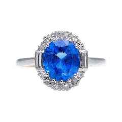 Antique, Art Deco, 18ct Gold, Burmese Sapphire and Diamond Cluster Ring