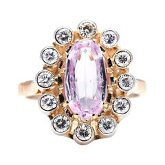 Antique, Art Deco, 18ct Gold, Pink Topaz and Diamond Cluster Ring