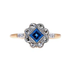 Antique, Art Deco, 18ct Gold, Sapphire and Diamond Engagement Ring