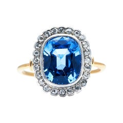 Antique, Art Deco, 18ct Gold, Sri Lanka Sapphire and Diamond Cluster Ring