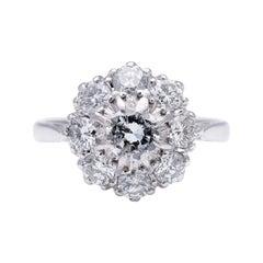 Antique, Art Deco, 18 Carat White Gold, 1920s, Diamond Cluster Engagement Ring