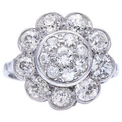 Antique, Art Deco, 18 Carat White Gold, Large Floral Diamond Cluster Ring