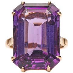 Antique, Art Deco, 18 Carat Yellow Gold, Amethyst Ring