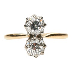 Antique, Art Deco, 18 Carat Gold, Platinum, Diamond Two-Stone Engagement Ring