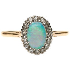 Antique, Art Deco, 18 Carat Yellow Gold, Platinum, Opal and Diamond Cluster Ring