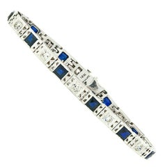 Antique Art Deco 18k Gold 1.10ctw European Diamond & Syn. Sapphire Line Bracelet