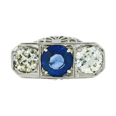 Antique Art Deco 18k Gold 3.20ct GIA Sapphire Diamond Filigree Three Stone Ring