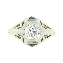 Antique Art Deco 18k Gold GIA Old European Diamond Sapphire Engagement Ring